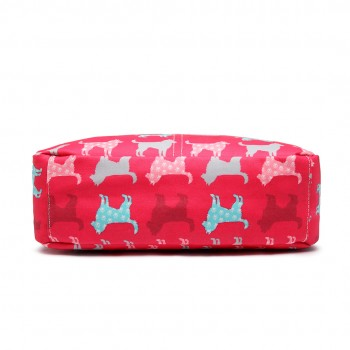 LC1645NDG - Miss Lulu Small Matte Oilcloth Square Bag Dog Plum