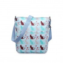 LC1645CT - Miss Lulu Small Matte Oilcloth Square Bag Cat Blue