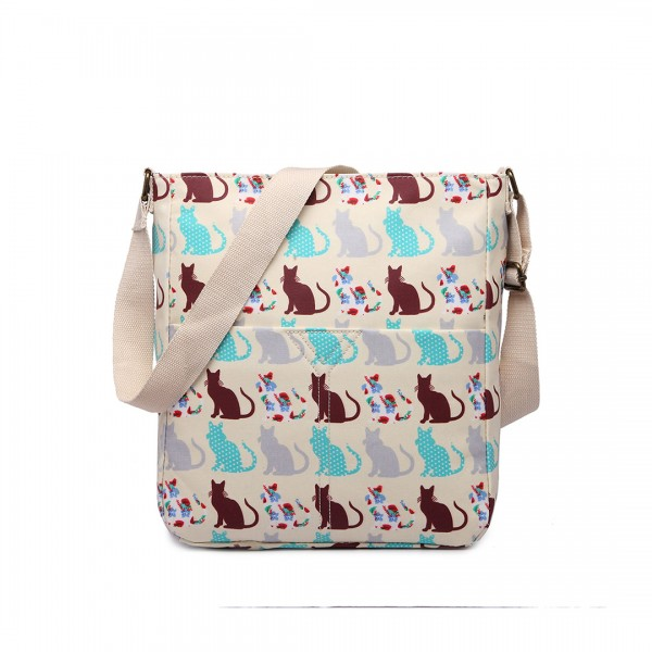 LC1645CT - Miss Lulu Small Matte Oilcloth Square Bag Cat Beige
