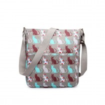 LC1645CT - Miss Lulu Small Matte Oilcloth Square Bag Cat Grey