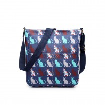 LC1645CT - Miss Lulu Small Matte Oilcloth Square Bag Cat Navy
