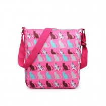 LC1645CT - Miss Lulu Small Matte Oilcloth Square Bag Cat Pink