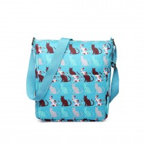 LC1645CT - Miss Lulu Small Matte Oilcloth Square Bag Cat Teal