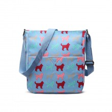 LC1645NDG - Miss Lulu Small Matte Oilcloth Square Bag Dog Blue