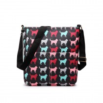 LC1645NDG - Miss Lulu Small Matte Oilcloth Square Bag Dog Black