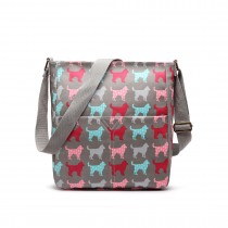 LC1645NDG - Miss Lulu Small Matte Oilcloth Square Bag Dog Grey