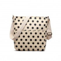 LC1645D2 - Miss Lulu Small Matte Oilcloth Square Bag Polka Dot Beige With Black