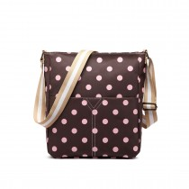 LC1645D2 - Miss Lulu Small Matte Oilcloth Square Bag Polka Dot Coffee With Pink