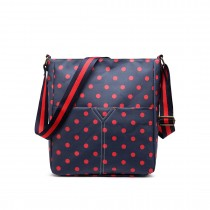 LC1645D2 - Miss Lulu Small Matte Oilcloth Square Bag Polka Dot Navy With Red