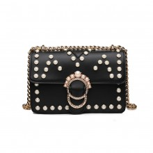 LD1836 - MISS LULU PEARL STUDDED CHAIN CROSS BODY BAG - BLACK