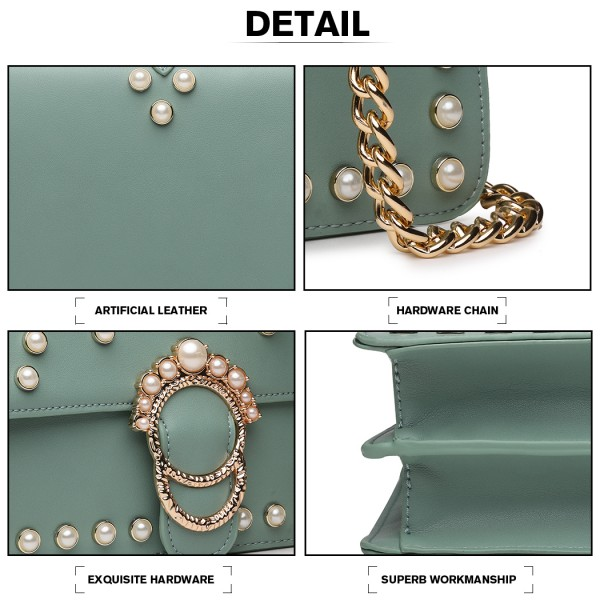 LD1836 - MISS LULU PEARL STUDDED CHAIN CROSS BODY BAG - GREEN