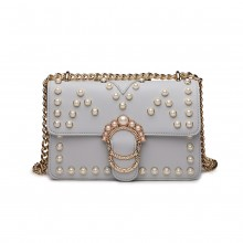 LD1836 - MISS LULU PEARL STUDDED CHAIN CROSS BODY BAG - GREY