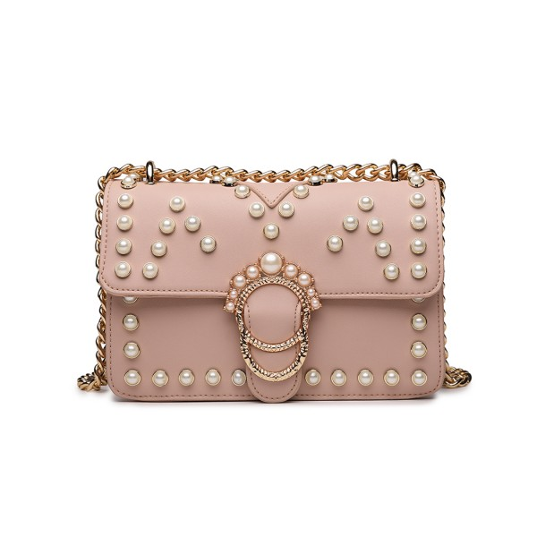 LD1836 - MISS LULU PEARL STUDDED CHAIN CROSS BODY BAG - PINK