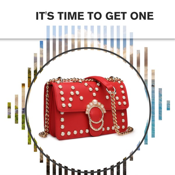 LD1836 - MISS LULU PEARL STUDDED CHAIN CROSS BODY BAG - RED