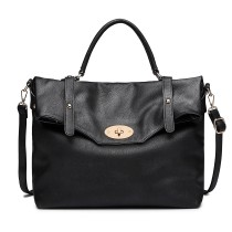 LD1837 - MISS LULU LEATHER LOOK SATCHEL SHOULDER BAG - BLACK