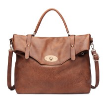 LD1837 - MISS LULU LEATHER LOOK SATCHEL SHOULDER BAG - BROWN