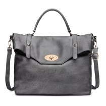 LD1837 - MISS LULU LEATHER LOOK SATCHEL SHOULDER BAG - GREY