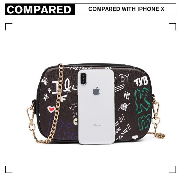 LD1838-MISS LULU PU LEATHER GRAFFITI CHAIN SHOULDER BAG BLACK