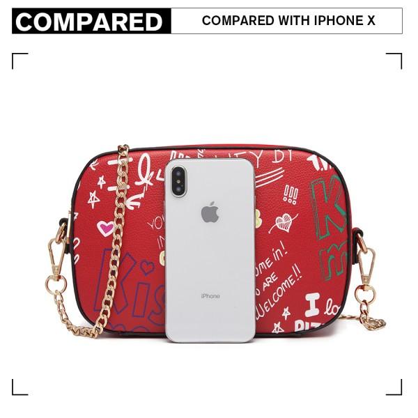 LD1838-MISS LULU PU LEATHER GRAFFITI CHAIN SHOULDER BAG RED