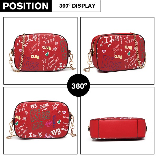 LD1838-MISS LULU PU LEATHER GRAFFITI CHAIN SHOULDER BAG RED