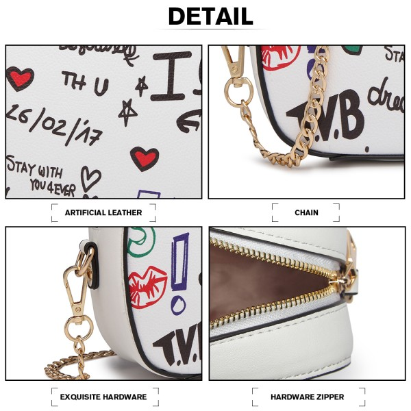 LD1838-MISS LULU PU LEATHER GRAFFITI CHAIN SHOULDER BAG WHITE