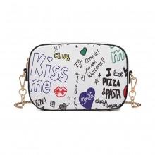 LD1838-MISS LULU PU LEATHER GRAFFITI CHAIN SHOULDER BAG WHITE