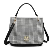 LD1840-MISS LULU LATTICE PU CUERO M METAL PATRÓN BOLSO CROSSBODY BAG NEGRO