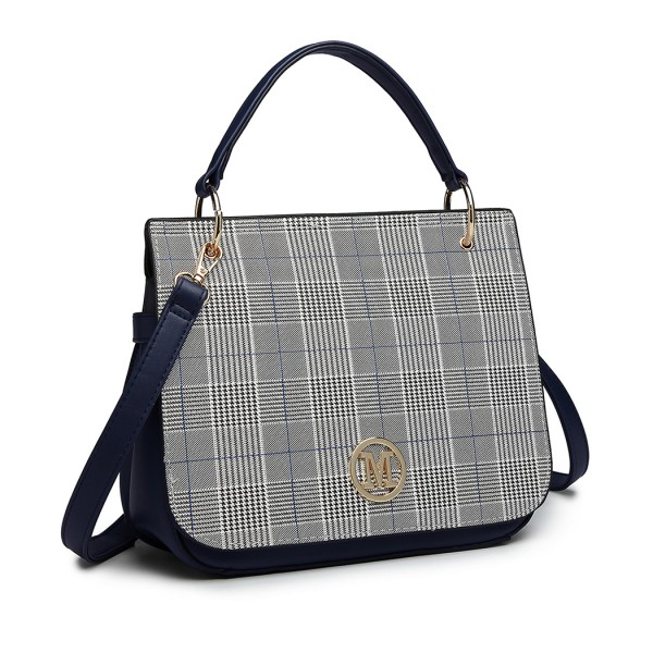 LD1840-MISS LULU Plaid Lattice FASHION TOTE HANDBAG NAVY