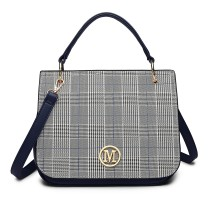 LD1840-MISS LULU LATTICE PU CUERO M METAL PATRÓN BOLSO CROSSBODY BAG NAVY