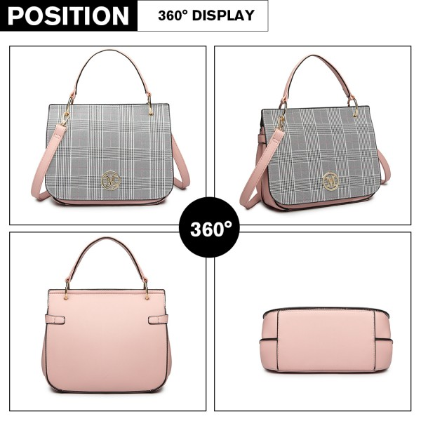 LD1840-MISS LULU Plaid Lattice FASHION TOTE HANDBAG PINK