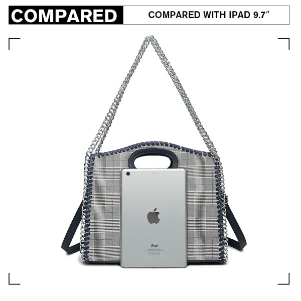 LD1841-MISS LULU Plaid Lattice CHAIN ARROUND HANDBAG NAVY