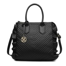 LD1842-MISS LULU FAUX LEATHER QUILTED TWILL TOTE HANDBAGS BLACK