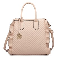 LD1842-MISS LULU FAUX LEATHER QUILTED TWILL TOTE HANDBAGS NUDE
