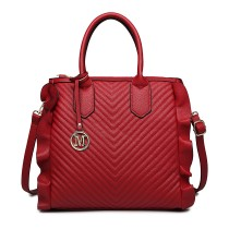 LD1842-MISS LULU FAUX LEATHER QUILTED TWILL TOTE HANDBAGS RED