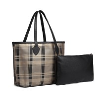 LD6825-MISS LULU LATTICE LEATHER 2PCS CONJUNTO DE BOLSA DE MANO CON EMBRAGUE DE ORO