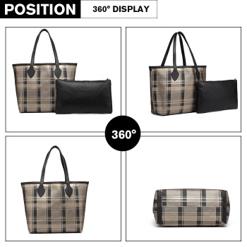 LD6825-MISS LULU LATTICE LEATHER 2PCS SET TOTE HANDBAG WITH CLUTCH GOLD