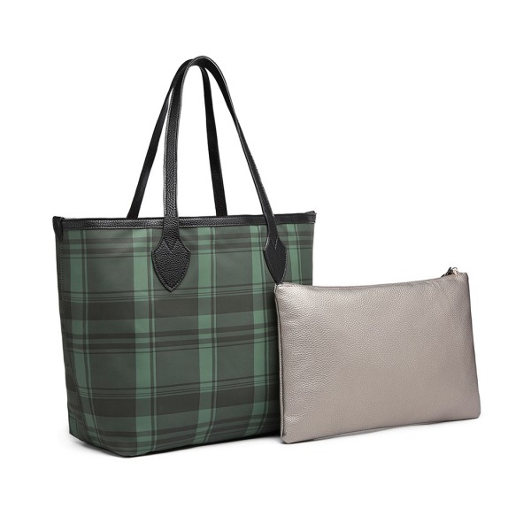 LD6825 - Miss Lulu Check Pattern Reversible 2 Piece Tote and Clutch Bag Set - Green