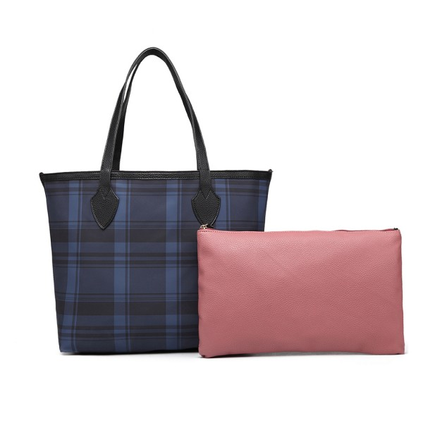 LD6825 - Miss Lulu Check Pattern Reversible 2 Piece Tote and Clutch Bag Set - Navy