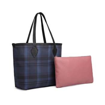 LD6825-MISS LULU LATTICE LEATHER 2PCS SET TOTE HANDBAG WITH CLUTCH NAVY