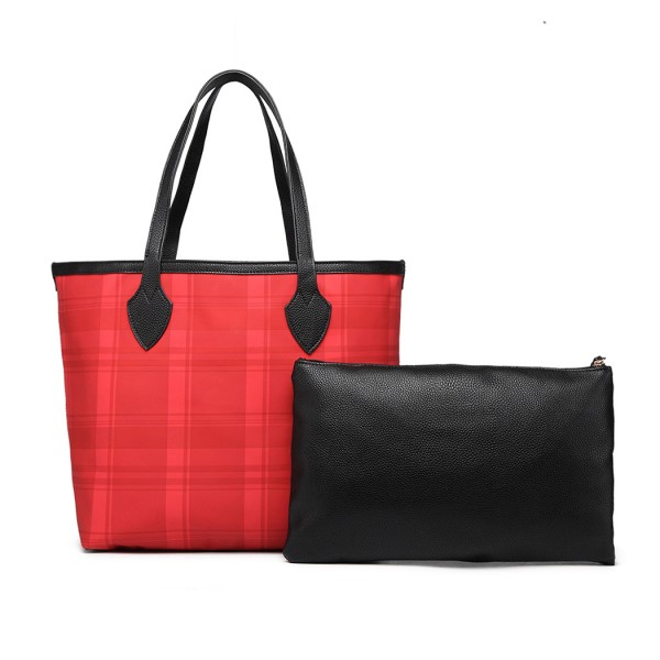LD6825 - Miss Lulu Check Pattern Reversible 2 Piece Tote and Clutch Bag Set - Red