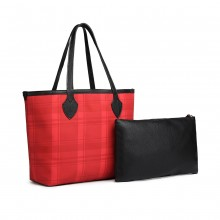 LD6825-MISS LULU LATTICE LEATHER 2PCS SET TOTE SAC À MAIN AVEC EMBRAYAGE ROUGE