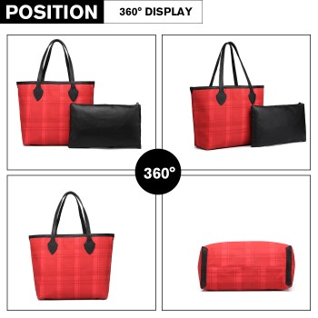 LD6825-MISS LULU LATTICE LEATHER 2PCS SET TOTE HANDBAG WITH CLUTCH RED