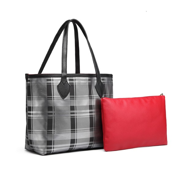 LD6825 - Miss Lulu Check Pattern Reversible 2 Piece Tote and Clutch Bag Set - Silver