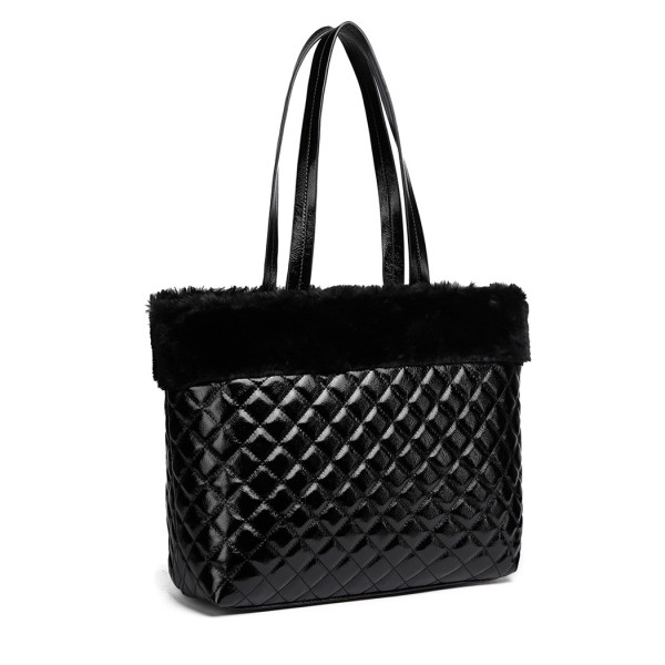 LD6826 - Miss Lulu Quilted Faux Fur Trim Tote Bag - Black