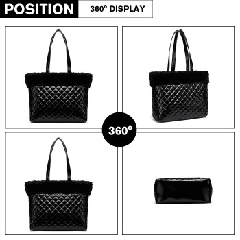 LD6826-MISS LULU PU LEATHER FLUFF AROUND QUILTED TOTE HANDBAG BLACK