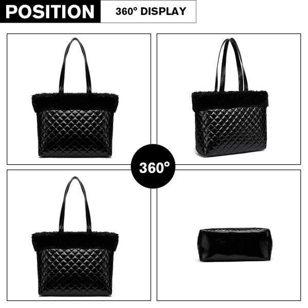 LD6826 - Miss Lulu Quilted Faux Fur Trim Tote Bag - Black