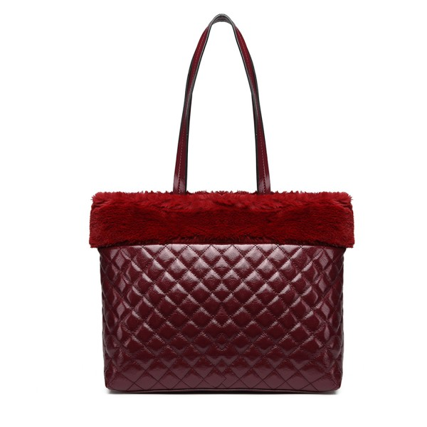 LD6826 - Miss Lulu Quilted Faux Fur Trim Tote Bag - Burgundy