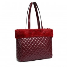 LD6826-MISS LULU PU LEATHER FLUFF AROUND QUILTED TOTE HANDBAG BURGUNDY