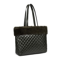 LD6826-MISS LULU PU LEATHER FLUFF AROUND QUILTED TOTE HANDBAG GREEN