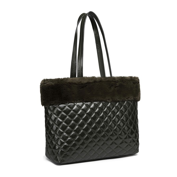 LD6826 - Miss Lulu Quilted Faux Fur Trim Tote Bag - Green